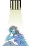 Droevige vrouw in gevangenis, illustratie Stock Foto