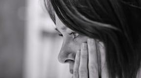 Droevige Vrouw in Wanhoop Royalty-vrije Stock Foto