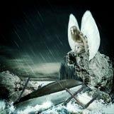 Droevige vrouwenengel met witte vleugels Royalty-vrije Stock Fotografie