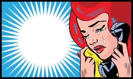 Droevige Vrouwenschreeuw en het spreken van met de illustratie van het telefoonpop-art sociaal media symbool Royalty-vrije Stock Afbeelding