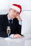 Droevige Zakenman Sitting In Office Royalty-vrije Stock Fotografie