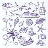 Drog beståndsdelar för sommar hand Sol, paraply, ryggsäck och andra symboler av roliga semestrar Vektorklotteruppsättning stock illustrationer