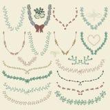 Drog blom- kransar för vektor färgrik hand, lager royaltyfri illustrationer
