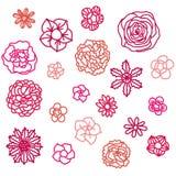 Drog blommaillustrationer för klotter hand stock illustrationer