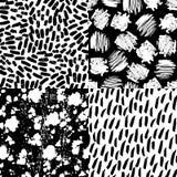 Drog borsten för färgpulver slår handen sömlösa designer för modellsamling fyra royaltyfri illustrationer