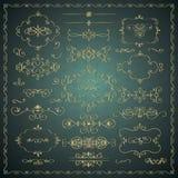Drog dekorativa guld- designbeståndsdelar för vektor hand royaltyfri illustrationer