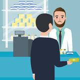 Drog för folkkonsumentköpande i drog-lager apoteklager på räknarebetalningkassörskan royaltyfri illustrationer