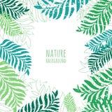 Drog gröna palmträdsidor för vektor hand, grungebakgrund stock illustrationer