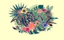 Drog illustrationen för vattenfärgen befjädrar handen med boaen, blommor, sidor, royaltyfri illustrationer
