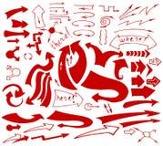 Drog isolerade knapphändiga pilsymboler in för vektor ställde handen Arkivbilder