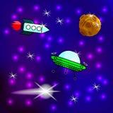 Drog klistermärkear för tecknad film hand på svart Utrymmelappar Planetstjärnakomet, raket, satellit, jord, planeter, brunnsort?  stock illustrationer