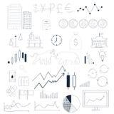 Drog klottret för den Infographics samlingen skissar handen Affärs- och aktiemarknadbeståndsdelar Arkivbild