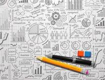 Drog klottret för den Infographics samlingen skissar handen ecomomic finansbeståndsdelar för affär royaltyfri illustrationer