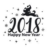 Drog nummer för lyckligt nytt år som 2018 dog handen är grafiska med banhoppningtecknade filmen, konturn Fotografering för Bildbyråer