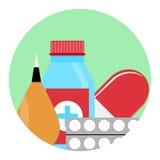 Drog- och läkarbehandlingsymbol stock illustrationer