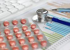 Drog och preventivpillerar med phonendoscope Royaltyfri Bild