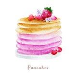 Drog pannkakor för vattenfärg hand efterrättillustration på vit bakgrund vektor illustrationer