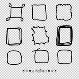Drog rektangeln för vektoruppsättningen anmärker handen, tuschpenna Textask och ramar, illustration EPS10 Royaltyfri Foto