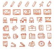 Drog symboler för kontor som 36 hand dras med en tuschpenna royaltyfri illustrationer