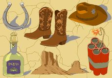 Drog symboler för vektorcowboy hand vektor illustrationer