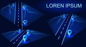 Droga, autostrada w 3D Futurystyczny hud projekta element Nawigacji metoda z markierami Geolocation z lorem ipsum ilustracja wektor