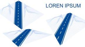 Droga, autostrada w 3D Futurystyczny hud projekta element Nawigacji metoda z markierami Wireframe landskape na bielu ilustracja wektor