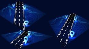 Droga, autostrada w 3D na graficznym interfejsie Futurystyczny hud projekta element Nawigacji metoda z markierami ilustracji