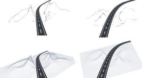 Droga, autostrada w 3D na interfejsie Widok od above w perspektywie i Autostrada projekt Kośćcowy krajobraz royalty ilustracja
