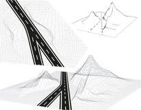 Droga, autostrada w 3D Widok od above w perspektywie i Autostrada projekt Kośćcowy Obramiający krajobraz ilustracja ilustracja wektor
