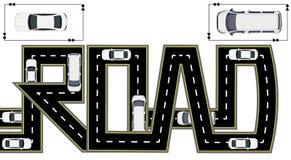 Droga Autostrady stylizowana inskrypcja Ciężarówki i samochody button ręce s push odizolowana początku ilustracyjna kobieta royalty ilustracja