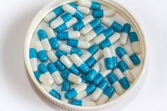 Droga branca azul da cápsula imagem de stock