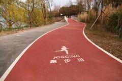 Droga dla jogging przy Shanghai jesieni miasta parkiem Zdjęcia Royalty Free