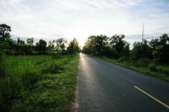 Droga dla samochodu w wieczór Zdjęcia Stock