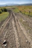 Droga gruntowa, długi ogrodzenie w paśnik ziemi, Jackson dziura, Wyoming zdjęcia royalty free