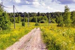 Droga gruntowa w polach na gorącym Czerwa dniu, Zdjęcia Stock