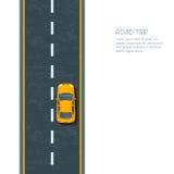 droga i samochód, odgórny widok ilustracja wektor