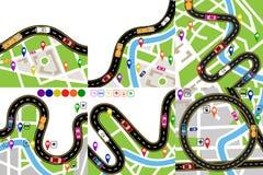 Droga infographic Ustawia A wijącą drogę z markierami na mapach teren Ścieżka wskazuje nawigatorem ilustracja wektor