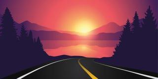Droga jezioro w lesie przy wschód słońca z góra krajobrazem ilustracji
