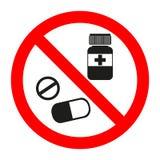 Droga l'icona nel cerchio rosso di proibizione, in nessun divieto di verniciatura o nel fanale di arresto, simbolo severo medicin Fotografia Stock