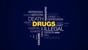Droga la nuvola animata di parola di morte della dose eccessiva dell'iniezione di dipendenza di problemi dell'eroina di trattamen video d archivio