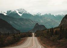 Droga lwy Przewodzi w Alaska jest epickim sceną fotografia stock