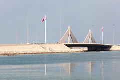 Droga na grobli most w Manama, królestwo Bahrajn Obrazy Royalty Free