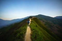Droga na kręgosłupie i wierzchołek góry zakrywać z greenery z delikatnymi dolinami przy świtem obrazy stock