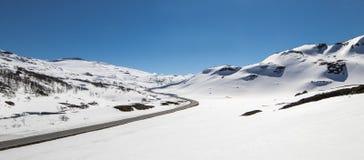 Droga nad Hallingskarvet w Norwegia Obraz Stock