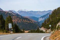 Droga Ofenpass, Fuorn przepustka w Val Mustair kanton Grisons -, Szwajcaria zdjęcie stock