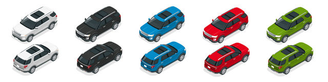 Droga pisze samochodzie Nowożytny VIP transport Mieszkania 3d isometric wektorowa ilustracja Dla infographics i projekta gier ilustracji