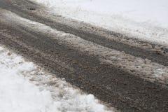 Droga po śnieżnej burzy Zdjęcia Royalty Free