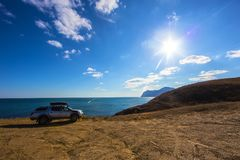 droga pojazd na wysokim wybrzeżu Zdjęcie Royalty Free
