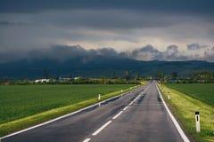 Droga przez zielonego pola z górą na tle Obrazy Royalty Free