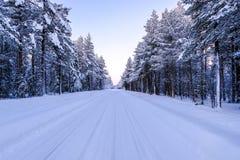 Droga przez zima śnieżnego lasu poza biegunowy okrąg w Lapland zdjęcie royalty free